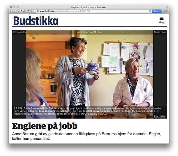 Faksimile budstikka.no av artikkelen Englene på jobb