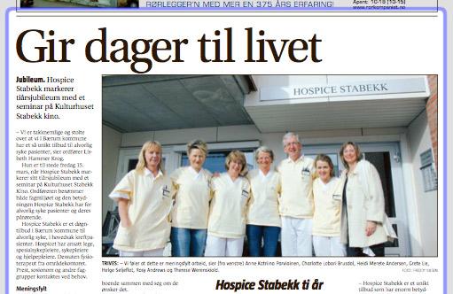Faksimile fra Budstikka 12. mars 2013 med artikkelen Gir dager til livet